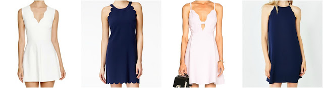 One of these scallop dresses is from Giambattista Valli for $2,770 and the other three are under $90. Can you guess which one is the designer dress? Click the links below to see if you are correct!