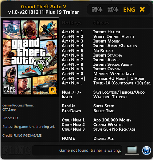 Trainer Cheat Grand Theft Auto V