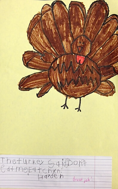 Turkey drawing and writing. GradeONEderful.com
