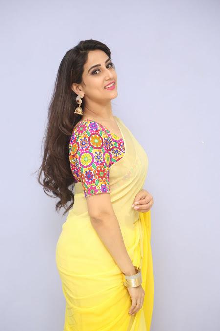 Tv Anchor Manjusha Latest Hot Transparent Saree Photos -5416