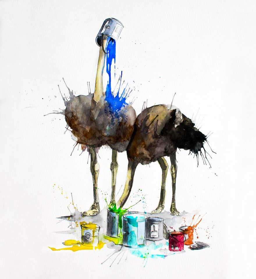 08-Ostriches-Philipp-Grein-Animal-Paintings-in-Splashes-of-Color-www-designstack-co
