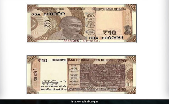 RBI Introduces `10 banknote in Mahatma Gandhi (New) Series