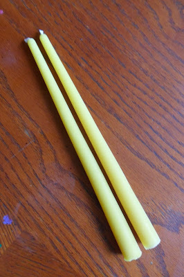 Pair of tapered beeswax candles