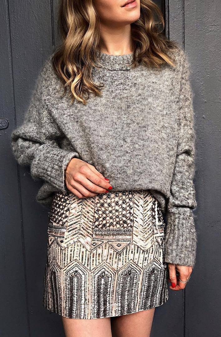 trendy look_sweater and printed skirt