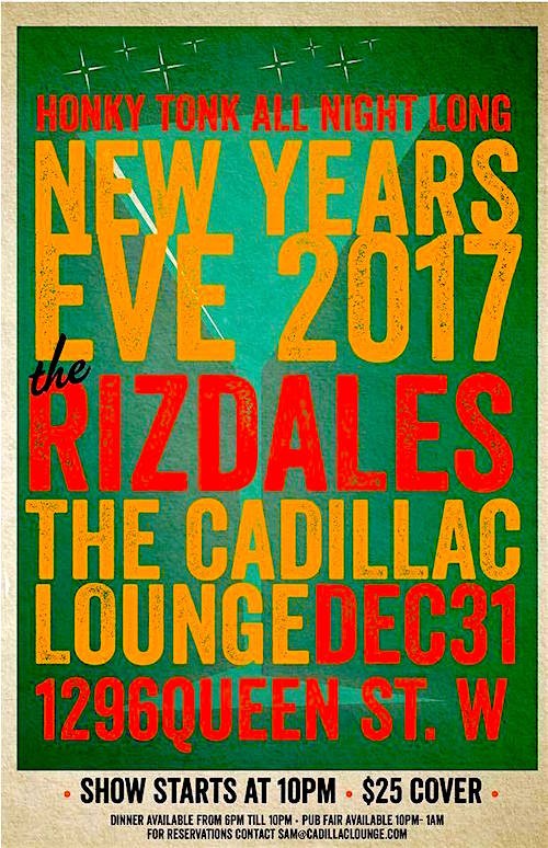 Honky Tonk NYE w/ The Rizdales @ Cadillac Lounge, December 31