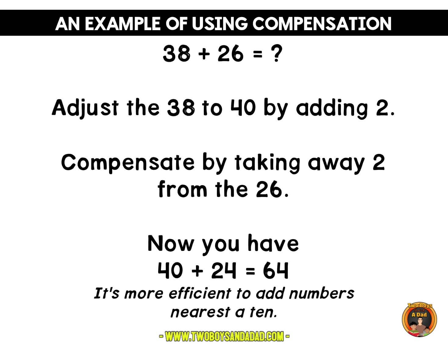 How to Use the Compensation Strategy for Addition - Two Boys and a Dad [ 1136 x 1470 Pixel ]