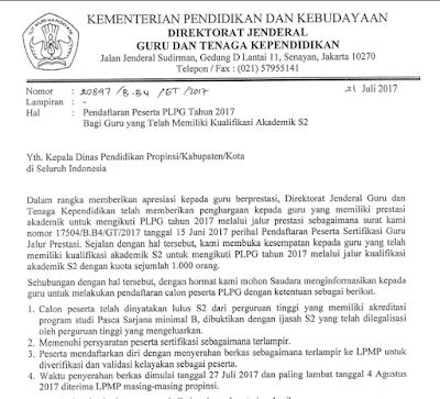 Informasi Pendaftaran Peserta PLPG Tahun 2017