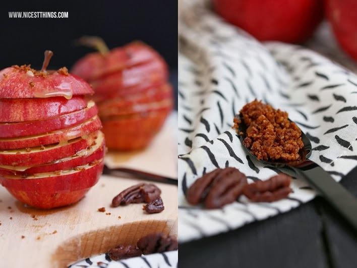Rezept für Apfel Millefeuille aus Apfelscheiben und Pecannüssen mit Karamellsauce