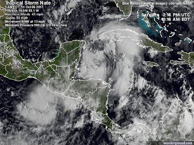 Immagini satellitari tempesta Nate
