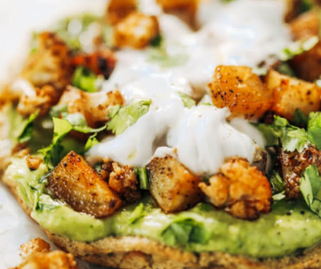ROASTED VEGGIE PALEO CAULIFLOWER PITAS WITH AVOCADO CREMA