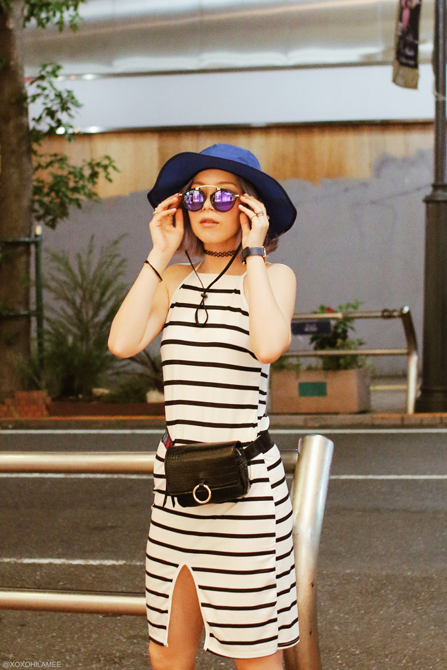 Japanese Fashion Blogger,MizuhoK,20180825OOTD,striped tight dress,L.L.Bean=blue hat / SheIn=Waist bag / zeroUV=purple mirrored sunglasses / ZARA= sporty sandals / Andreass Ingeman=watch street casual style