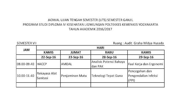 jadwal uji tengah semester semester VII D4 Kesling