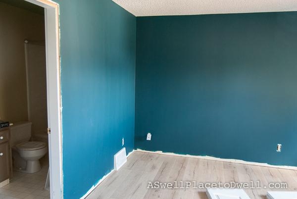 Master Bedroom Progress.  Benjamin Moore Dark Harbor