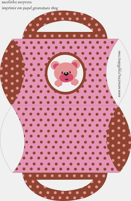 Caja almohada para imprimir gratis de Linda Osita Rosa