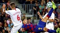 برباعية برشلونة يحقق فوز كاسح على اشبيلية ويصل لمركز وصيف الدوري الاسباني خلف ريال مدريد