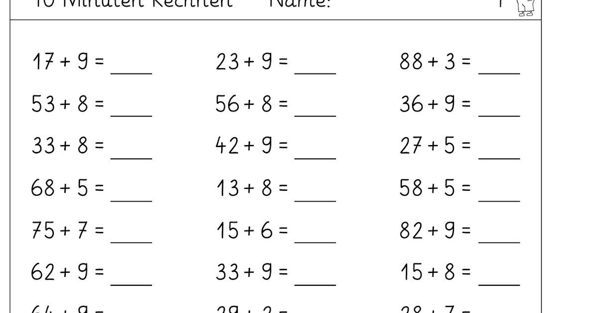 Lernstübchen: der Zehnerübergang im ZR 100 mit einstelligen Zahlen
