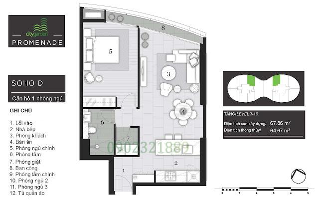 Tháp Pormenade căn hộ City Garden - 1 Phòng ngủ D