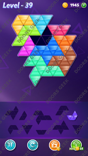 Block! Triangle Puzzle Master Level 39 Solution, Cheats, Walkthrough for Android, iPhone, iPad and iPod