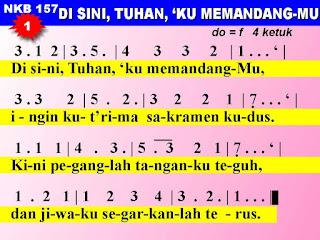 Lirik dan Not NKB 157 Di Sini, Tuhan 'Ku MemandangMu