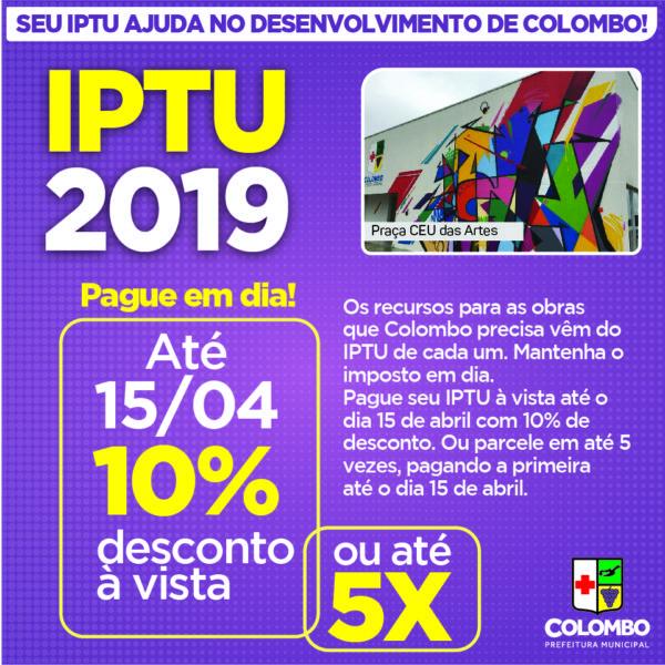 IPTU 2019 OFERECE 10% DE DESCONTO PARA PAGAMENTO À VISTA