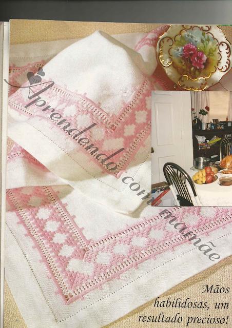 hardanger, bordado, trabalho, linha esterlina rosa, cânhamo branco, gráfico