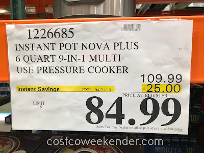 Deal for the Instant Pot Nova Plus 6qt 9-in-1 Pressure Cooker at Costco