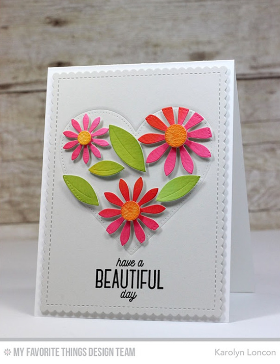 Beautiful Day Card by Karolyn Loncon featuring the Lisa Johnson Designs Spring Wreath stamp set, and the Pierced Heart STAX, Ups-Daisy, and Blueprints 27 Die-namics #mftstamps