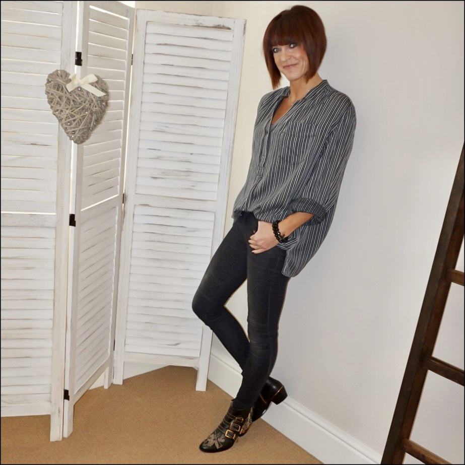 my midlife fashion, isabel marant etoile stripe shirt, hush biker jeans, chloe susanna leather ankle stud boots