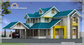 Beautiful Duplex house elevation - 372 Square Meter (4000 Sq. Ft.) - December 2011