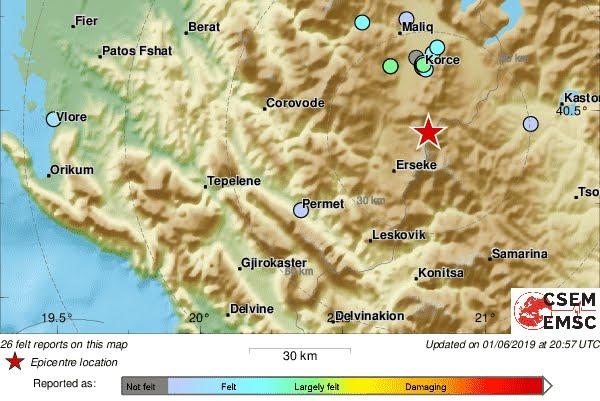 Terremoto Oggi Albania: 4 Scosse M5 circa, provocano danni e feriti.