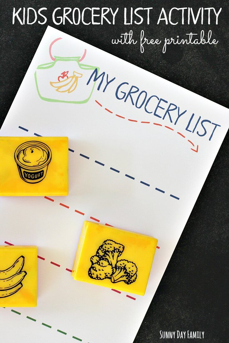 Let kids help make their own grocery list and learn about healthy food choices with this fun grocery activity! Includes a free printable kids' grocery list (and it turns into a fun way to keep them entertained at the store!)