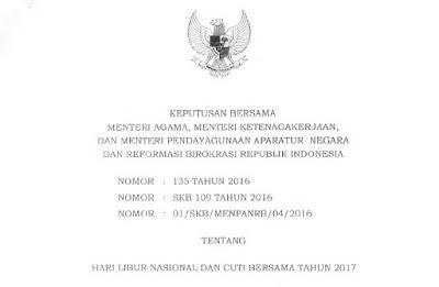 SKB Libur Nasional dan Cuti Bersama Tahun 2017.