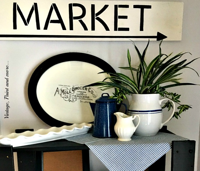 Vintage, Paint and more... Vintage vinyette done with diy'd stenciled kitchen sign, ironstone pitchers, splatter ware pot and blue ticking napkins