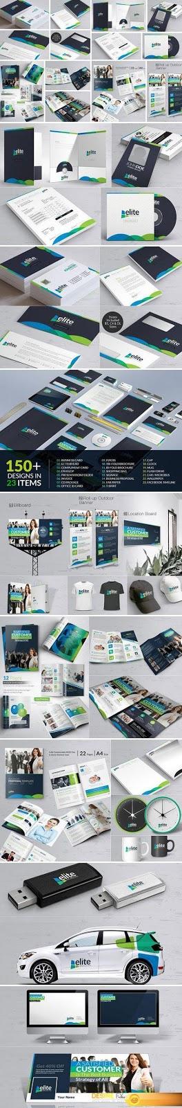 مجموعة تصاميم هوية متكاملة للعرض العلامة التجارية-بلال ارت