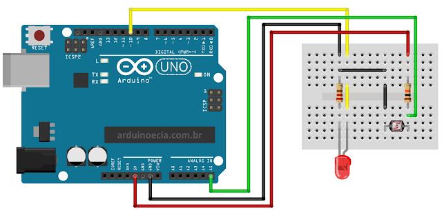 Circuito LDR e Arduino