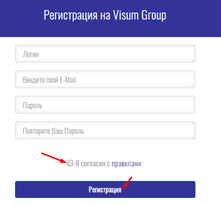 Регистрация в Visum Group 2