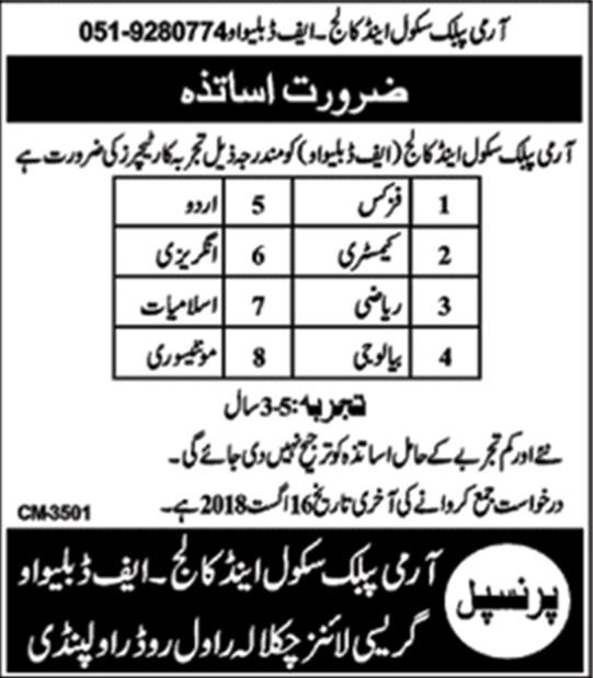 Army Public School And College APS Jobs August 2018