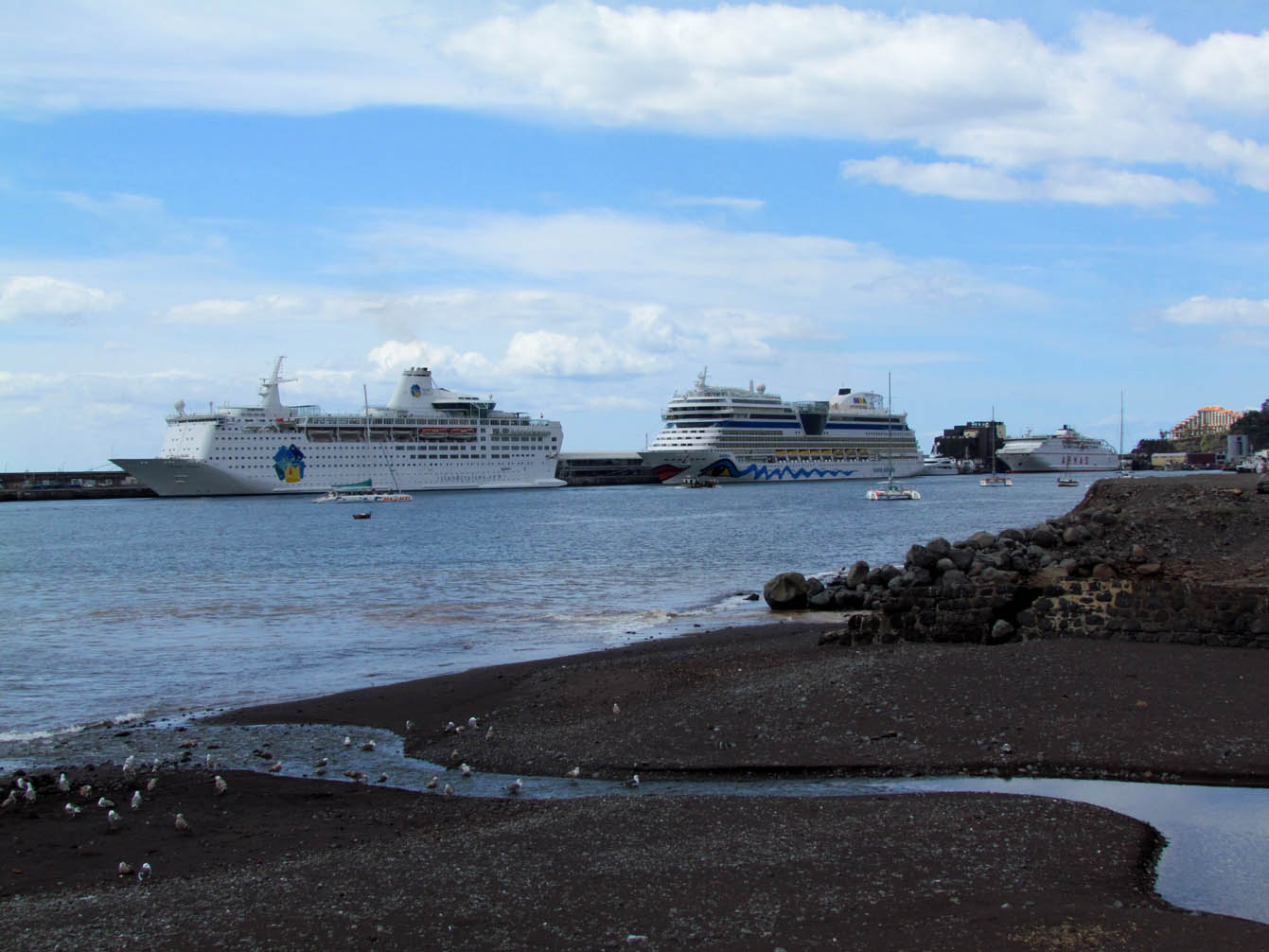 the beach and the cruise ships
