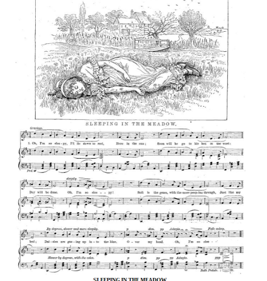 Late Victorian Children's Music Sheet: Sleeping in the Meadow