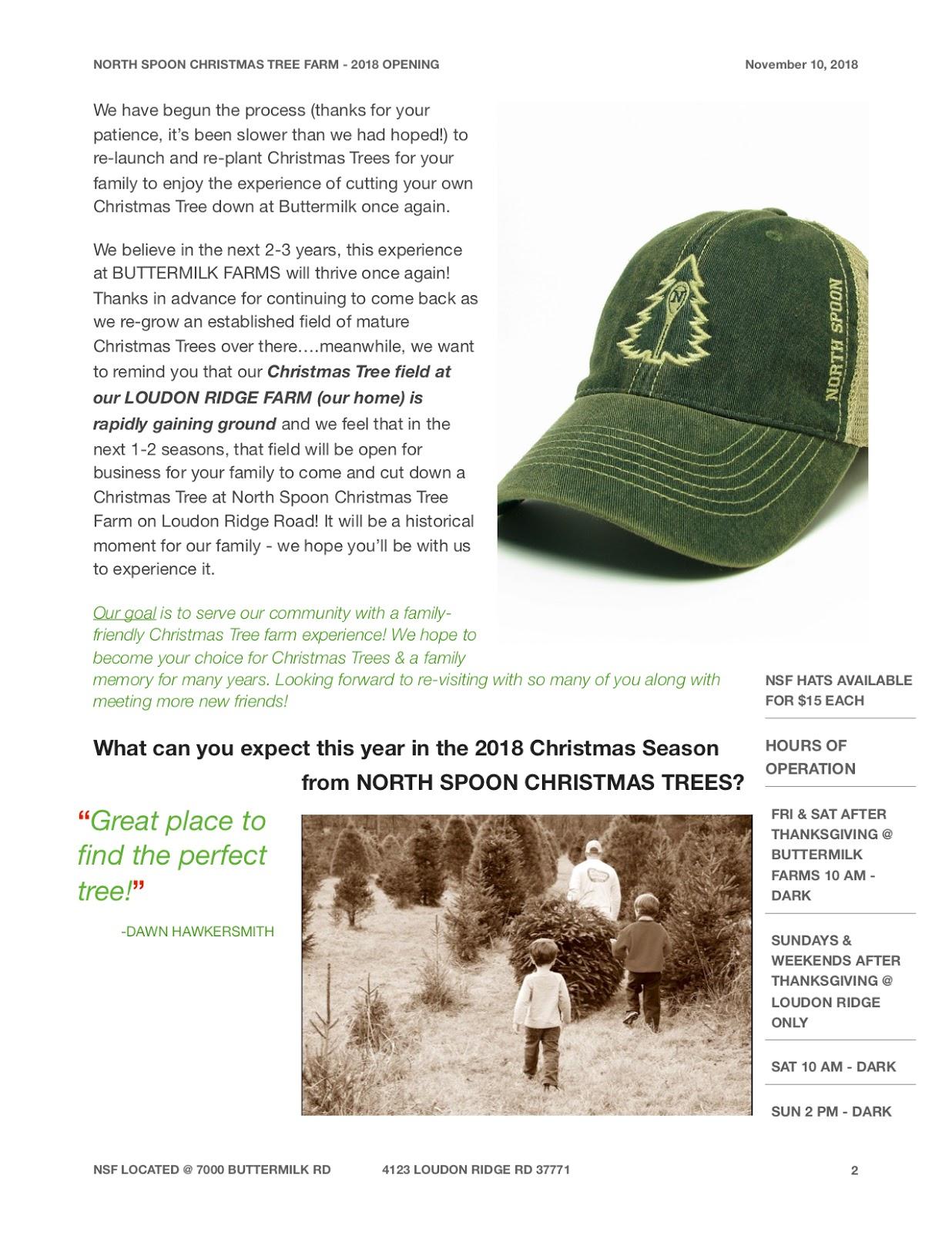 The North Spoon - Christmas Tree Farm : 2018