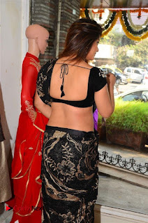 Actress Neetu Chandra Stills in Black Saree at Designer Sandhya Singh's Store Launch  0017.jpg