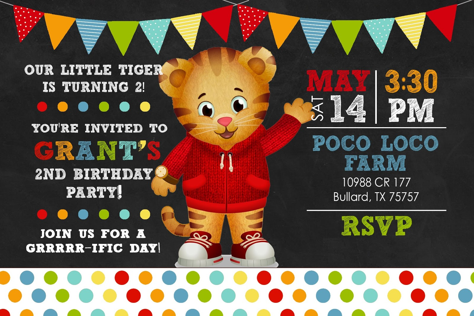 The Life of Mrs Martinez Grants 2nd Birthday Daniel Tiger Theme
