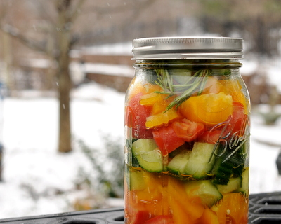 Winter Tomato Salad (Quick Pickled Vegetables) ♥ AVeggieVenture.com, winter tomatoes worth eating! Very Weight Watchers Friendly. Vegan. Quick. Great for Meal Prep. Naturally Gluten Free.