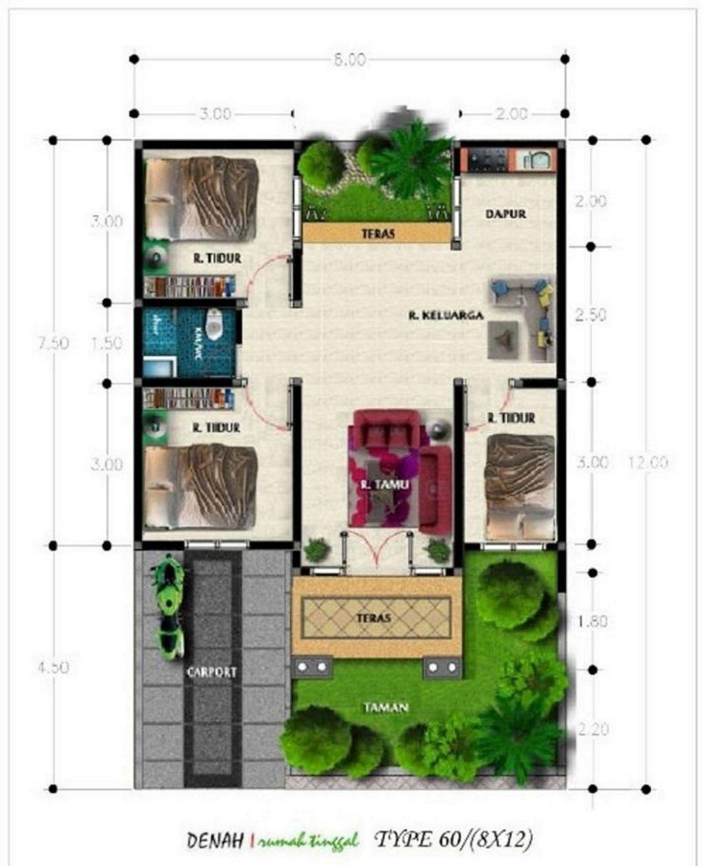 bentuk denah rumah type 60 3 kamar tidur modern