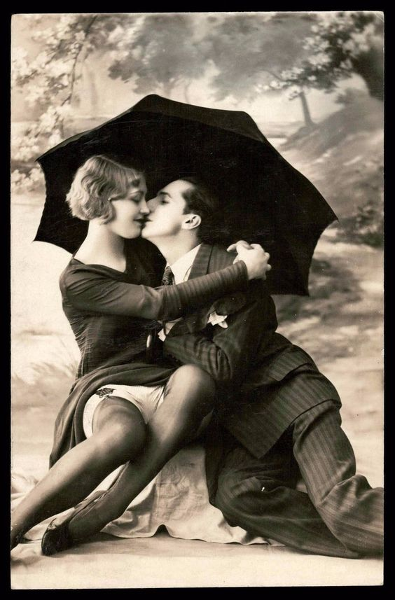 A kissing couple in a risque pose. 1920s. Frighten the Horses. marchmatron.com