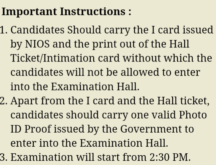 NIOS DElEd 2nd Exam 2018 Admit Card Instructions