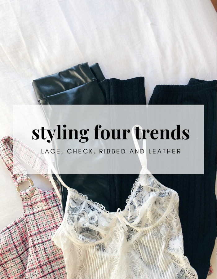 Styling Four Trends #2. A fashion post including four current trends; ribbed, check, lace and leather.