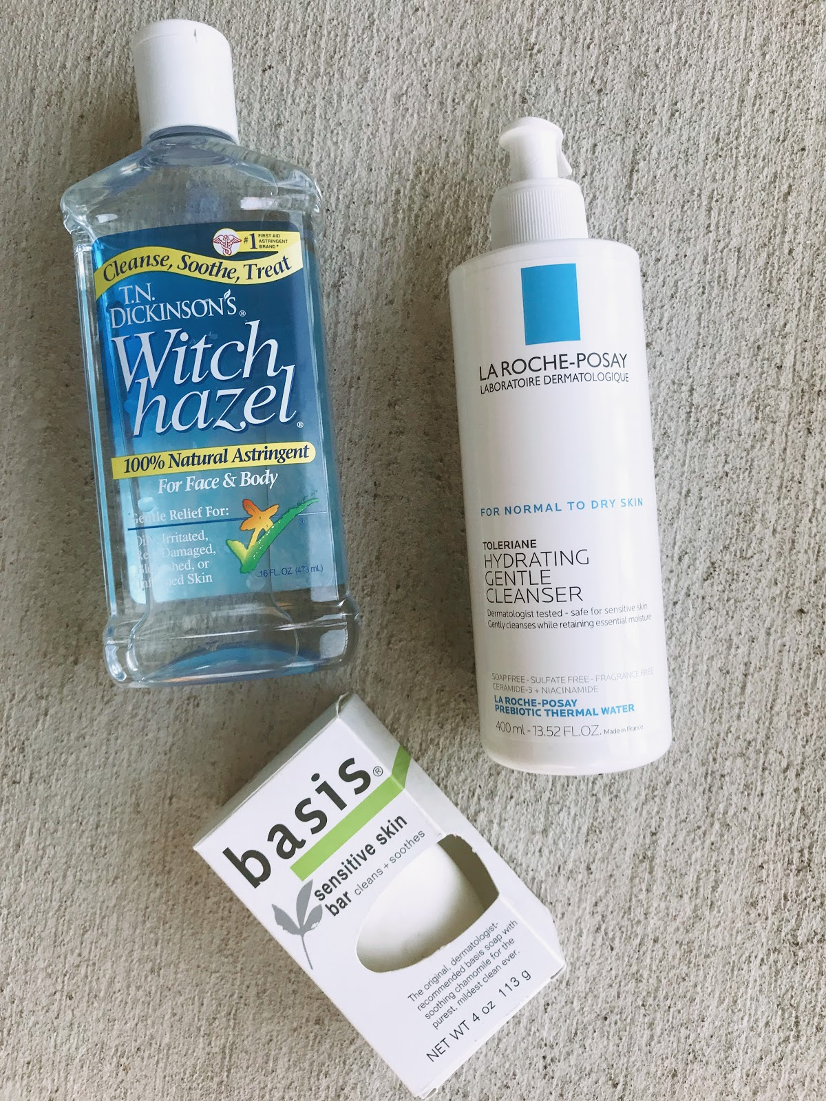 Image: Witch Hazel Toner, Laroche Posay Hydrating Cleanse, Basis Sentive Beauty Bar
