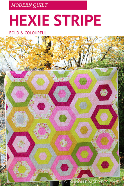 Hexie Stripe Quilt | Suzy Quilts' Pattern | Modern Quilt | Color Pop | Shannon Fraser Designs | Kona Cotton | Essex Linen | Anna Maria Horner Print | Quick Quilt Pattern