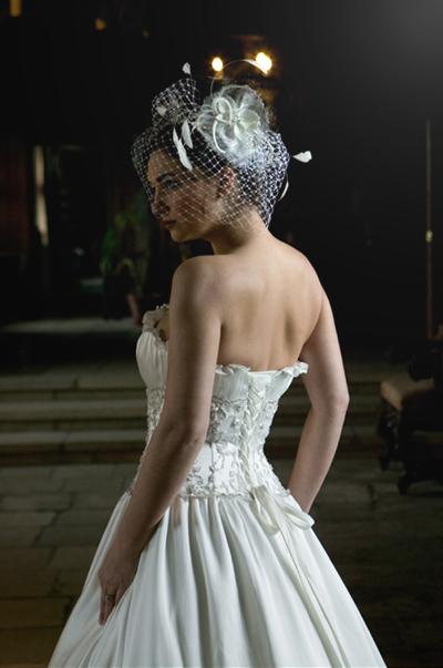 Sleek White Wedding Dress With Corset Back Behind